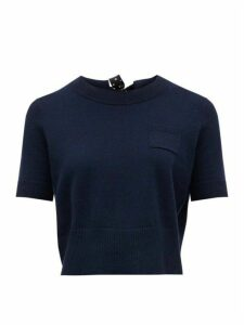 Altuzarra - Tuileries Tie-back Cropped Wool-blend Sweater - Womens - Navy