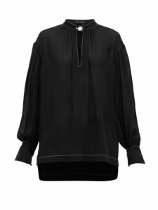 Proenza Schouler - Buttoned-keyhole Silk-georgette Blouse - Womens - Black