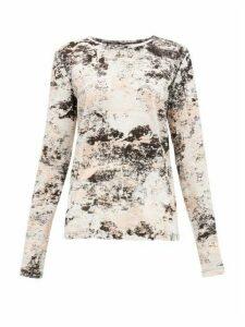 Proenza Schouler - Foil-print Cotton Long-sleeved T-shirt - Womens - Pink Print