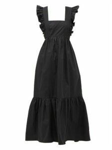 Self-portrait - Ruffled Cotton-poplin Midi Dress - Womens - Black