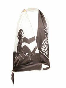 Bottega Veneta - Monkey-print Halterneck Silk Top - Womens - Brown White