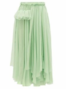 Rochas - Ruffle-trimmed Silk-chiffon Skirt - Womens - Light Green