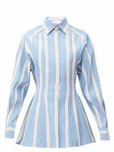 Carolina Herrera - Dropped-sleeve Striped Cotton-poplin Shirt - Womens - Blue White