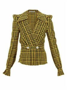 Alessandra Rich - Crystal-embellished Houndstooth Silk Wrap Top - Womens - Yellow Print