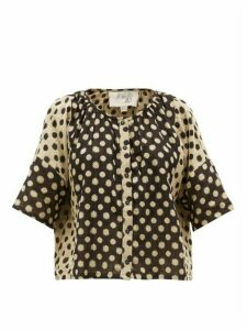 Ace & Jig - Claude Polka Dot-print Cotton Top - Womens - Black Multi