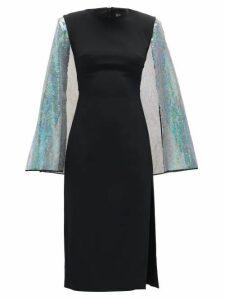 David Koma - Cape-sleeve Sequinned Crepe Dress - Womens - Black