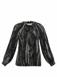 Proenza Schouler White Label - Raglan-sleeve Paint-print Crepe Blouse - Womens - Black White