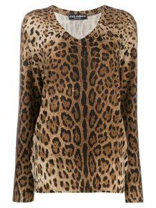 Dolce & Gabbana leopard-print cashmere jumper - Brown