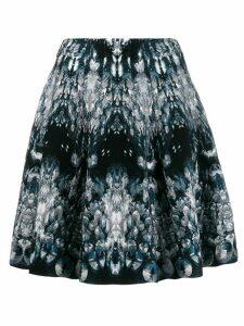 Alexander McQueen abstract pattern knitted skirt - Blue