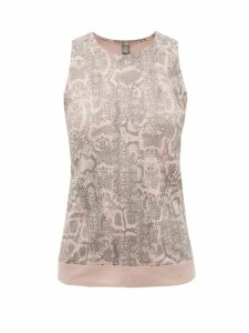 Adidas By Stella Mccartney - Snake-print Stretch-technical Blend Tank Top - Womens - Pink Print