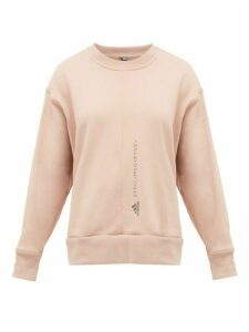 Adidas By Stella Mccartney - Embroidered-logo Cotton Sweatshirt - Womens - Light Pink