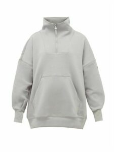 Adidas By Stella Mccartney - Train Funnel-neck Cotton-blend Sweatshirt - Womens - Light Grey