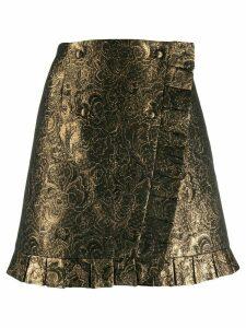 Sandro Paris brocade embroidery short skirt - Yellow