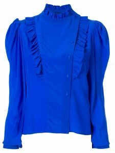 Anna October Magenta ruffle-trimmed blouse - Blue