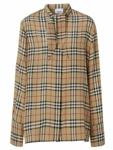 Burberry Vintage Check Silk Tie-neck Shirt - NEUTRALS