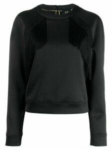 Cavalli Class fringe-trimmed sweatshirt - Black