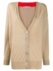 Stella McCartney V-neck contrasting collar cardigan - NEUTRALS