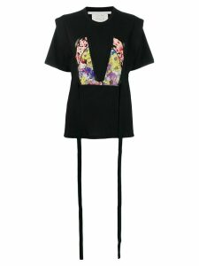 Stella McCartney floral bodice patch T-shirt - Black