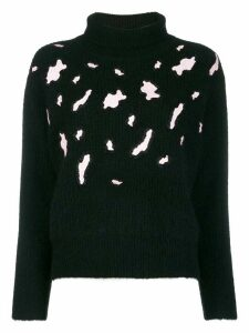Sandro Paris leopard detail jumper - Black