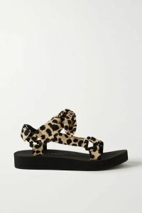 Loeffler Randall - Maisie Bow-embellished Leopard-print Canvas Sandals - Leopard print