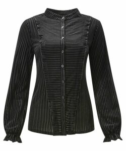 Elegant Stripe Velour Blouse
