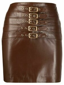 Manokhi Dita buckled leather skirt - Brown