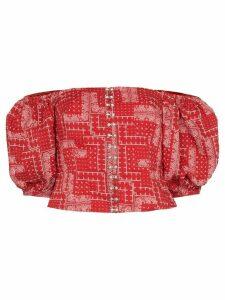 Shrimps Tex off-the-shoulder bandana print top - Red