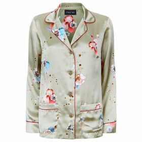 MENG Gold Floral Silk Satin Shirt