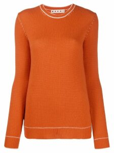 Marni contrast-stitch sweater - ORANGE