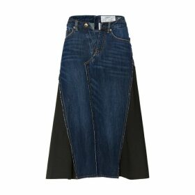 Evisu A-line Denim Skirt With Fabric Side Inserts