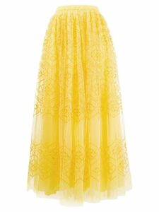 Ermanno Scervino embroidered tulle maxi skirt - Yellow
