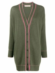 Marni contrast-stitch oversized cardigan - Green