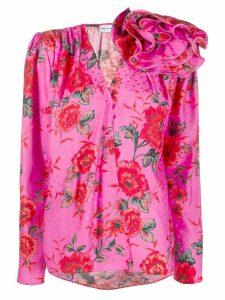 Magda Butrym floral applique satin blouse - PINK