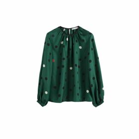 Chinti & Parker Green Painted Spot Silk Blouse