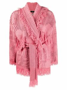 Alanui fringed belted cardigan - PINK