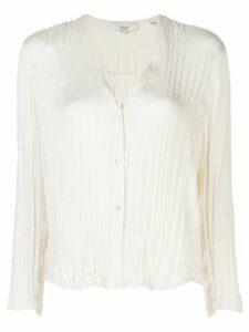 Vince pleated ruffle hem blouse - White