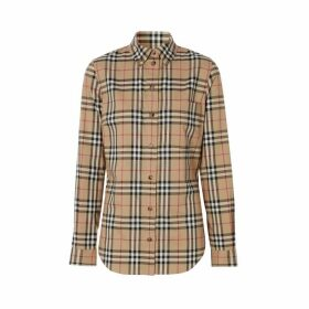 Burberry Button-down Collar Vintage Check Stretch Cotton Shirt