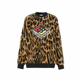 Burberry Logo Graphic Leopard Fleece Jacquard Sweatshirt