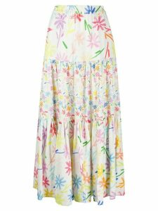 Mira Mikati tiered maxi skirt - White
