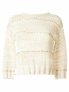 Lorena Antoniazzi sequin stripe jumper - White