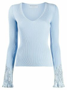 Ermanno Scervino embellished cuff jumper - Blue