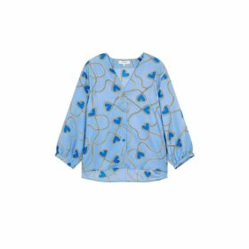 Chinti & Parker Sky-blue Anni Heart Silk-twill Blouse