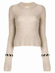 Khaite contrast whipstitched jumper - Brown