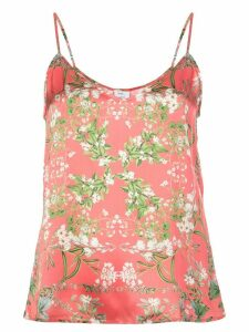 Madison. Maison Louise floral-print silk top - PINK