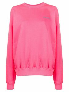 irene is good embroidered logo cotton sweatshirt - PINK