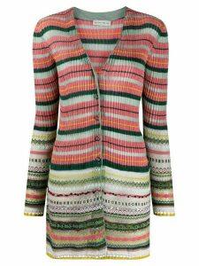 Etro metallic-knit striped cardigan - PINK