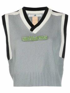 Eytys Lopes logo-appliqué waffle-knit sweater vest - Blue