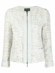 Emporio Armani Formal Tweed embellished jacket - Blue