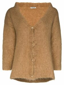 Miu Miu brushed mohair-blend cardigan - Brown