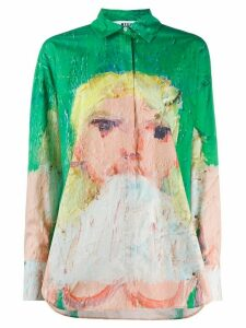 MSGM painted girl print long-sleeved shirt - Green